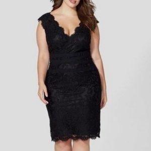 Tadashi Shoji Lace Black Sheath Dress Size 14